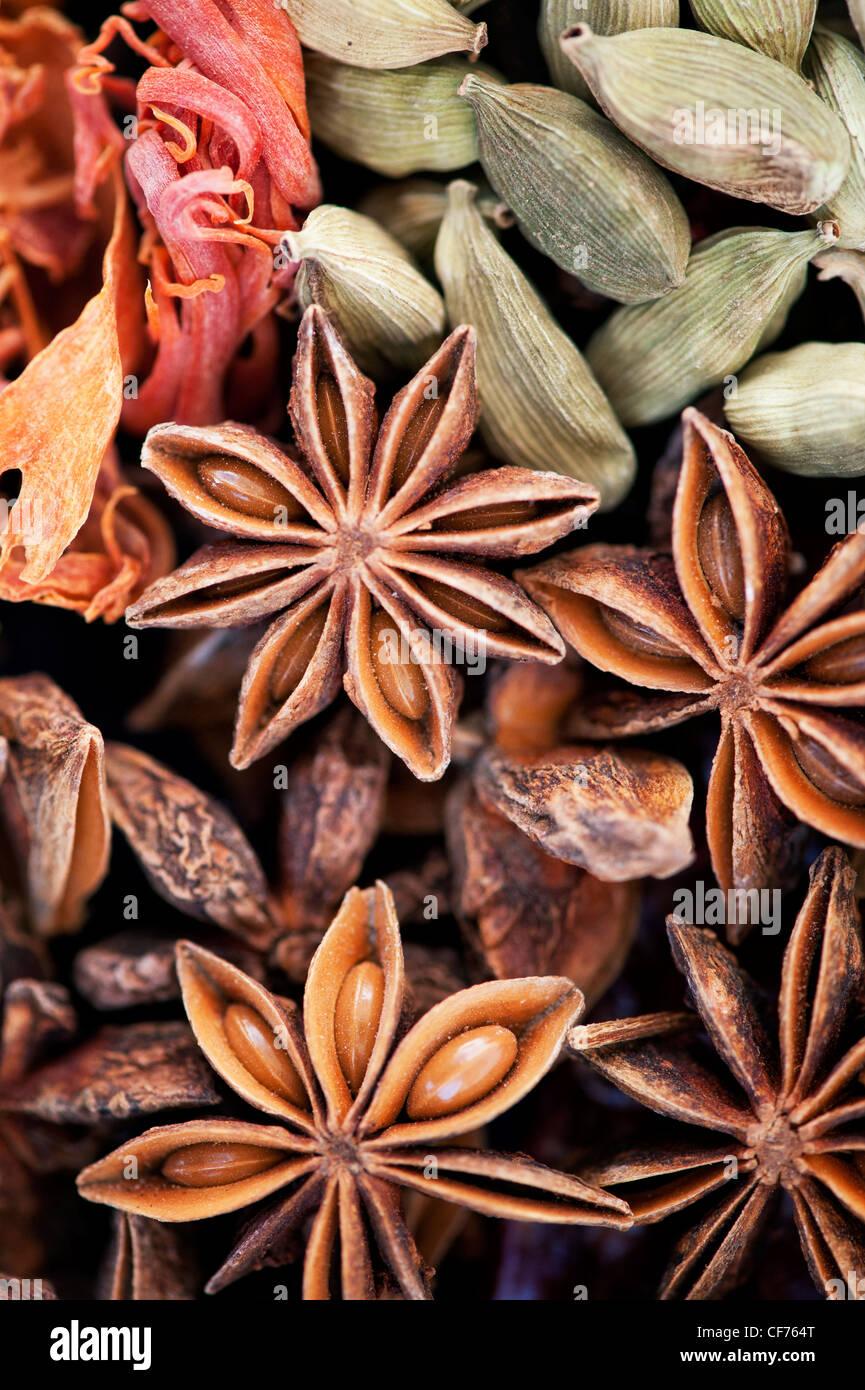 Indische Küche Gewürze Muster. Flachbild Fotografie von oben legen. Stockbild