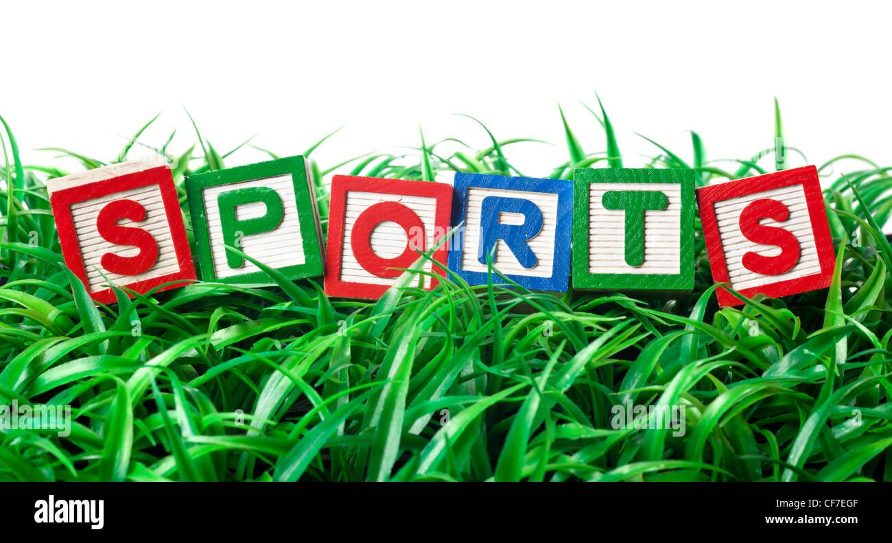 Alphabet-Blöcke bilden Sport auf einem Flecken des Grases Stockbild