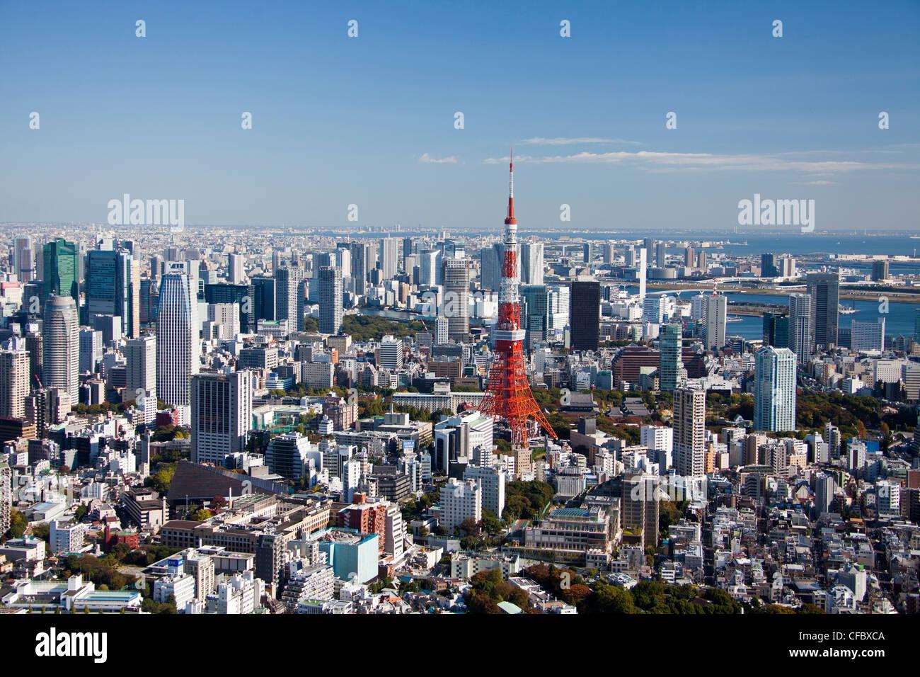 Tokyo, Japan, Asien, Stadt, Skyline von Tokyo, Tokyo Tower, Architektur, groß, Gebäude, Stadt, riesige, Stockbild