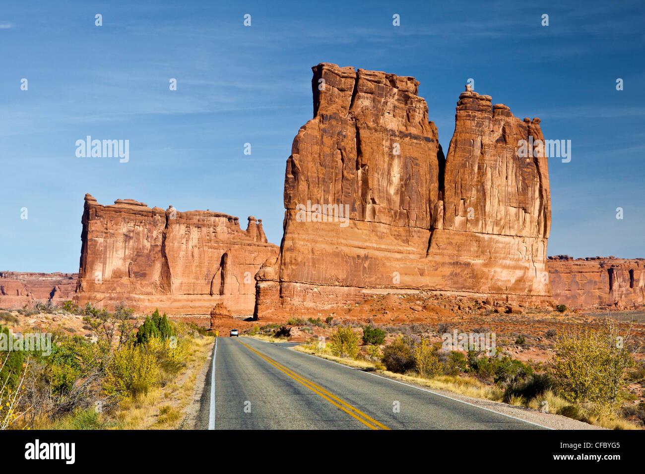 USA, USA, Amerika, Utah, Bögen, Nationalpark, Bögen fahren, Abenteuer, Belvedere, groß, Laufwerk, Stockbild
