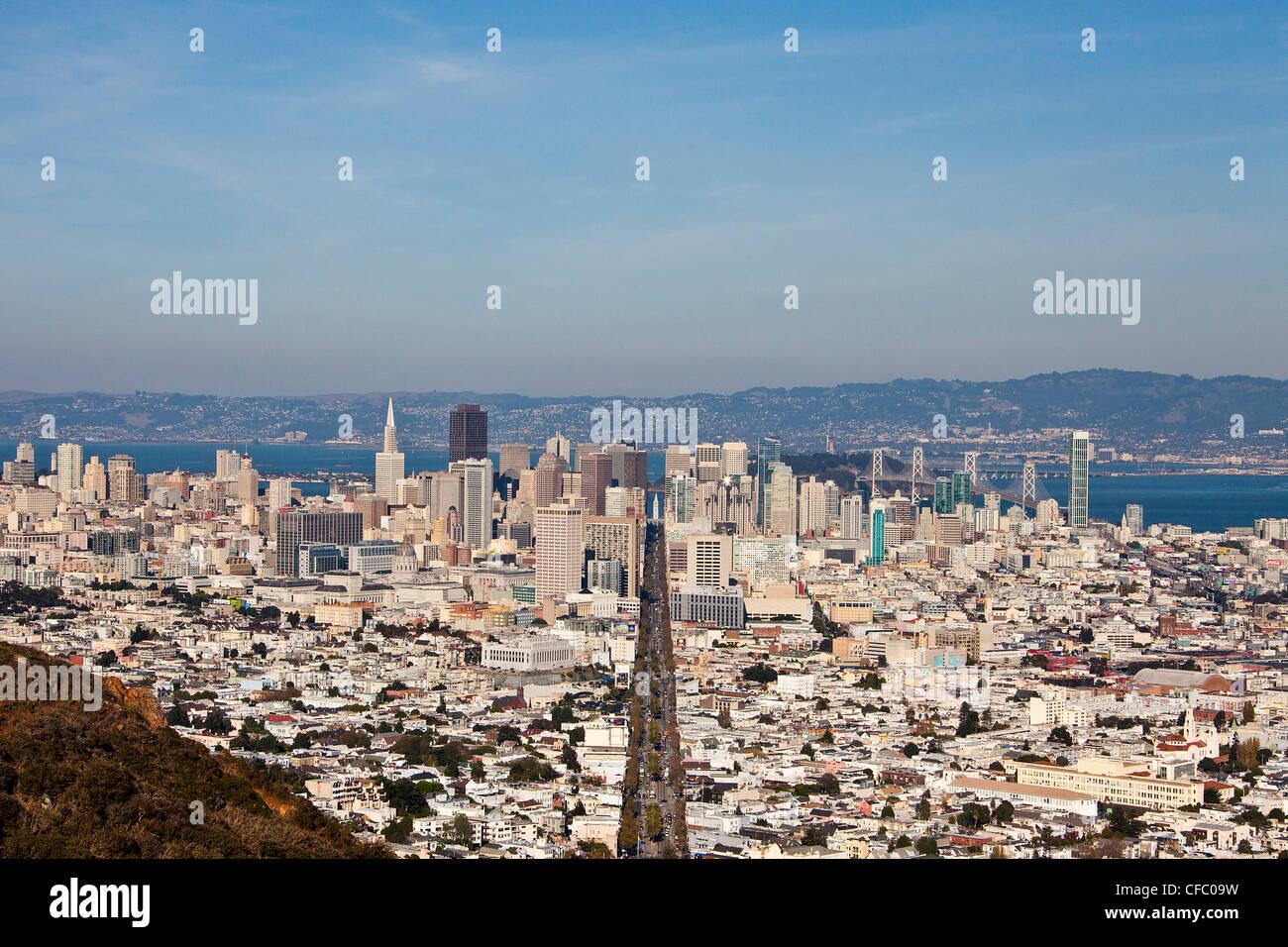 USA, USA, Amerika, Kalifornien, San Francisco, Stadt, Innenstadt, Market Street, Architektur, Bucht, Innenstadt, Stockbild
