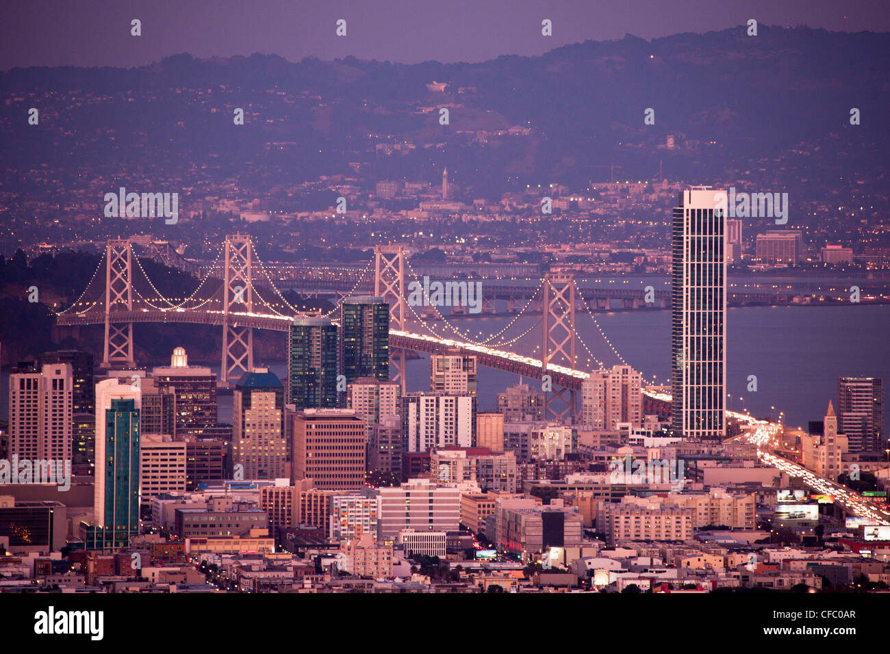 USA, USA, Amerika, Kalifornien, San Francisco, Stadt, Innenstadt, Bay Bridge, Architektur, Bay, downtown, berühmt, Stockbild