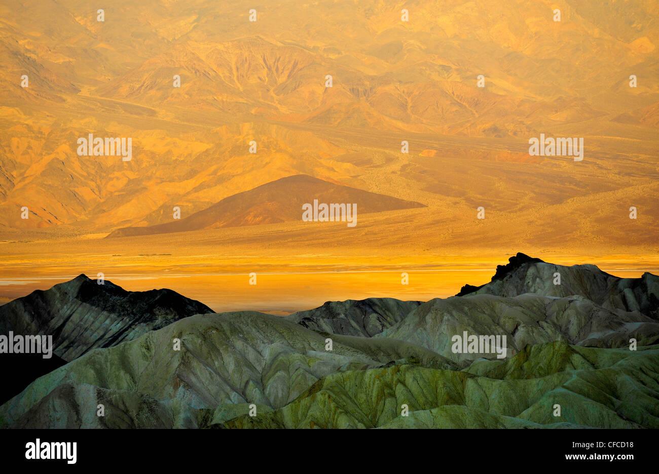 Zabriskie Point, Death Valley National Park, der wärmsten und trockensten der Nationalparks in den USA, California, Stockbild