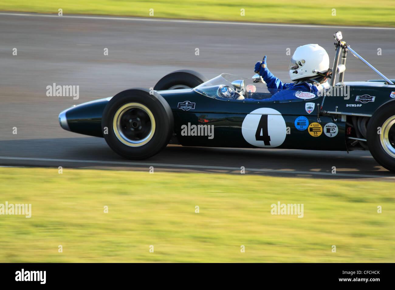 1965-Brabham-Ford-BT14 am Goodwood Revival 2011, Chichester, West Sussex, England, Großbritannien, Vereinigtes Stockbild