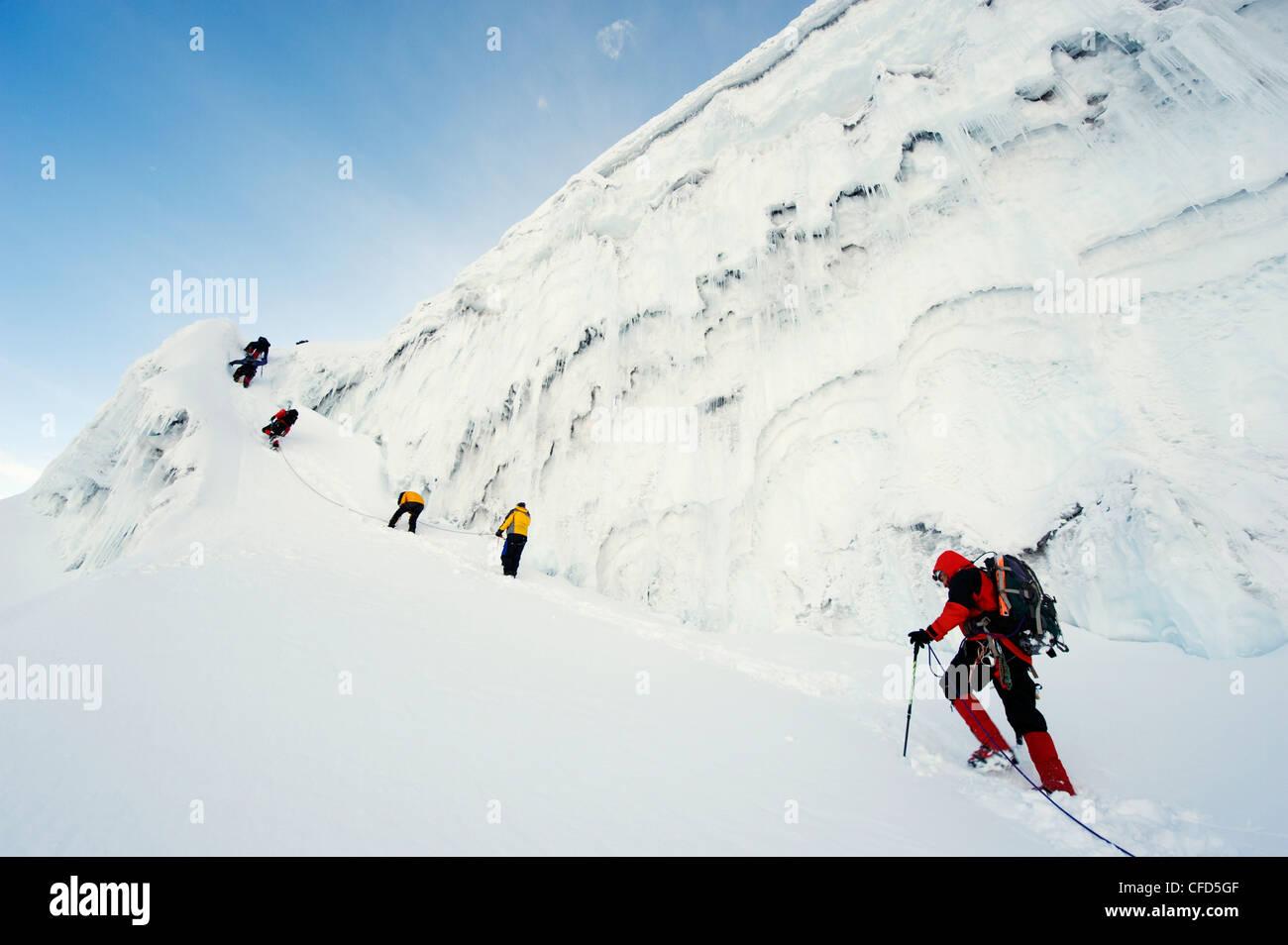 protzen auf dem Gletscher des Volcan Cotopaxi, 5897 m der höchste aktive Vulkan der Welt, Ecuador, Südamerika Stockbild