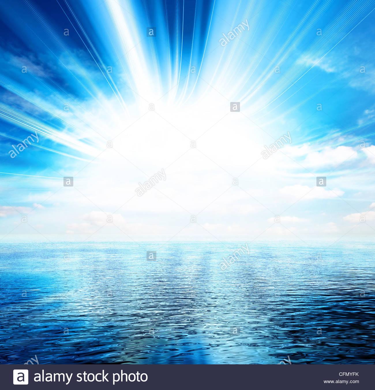hellen Meerblick Stockbild