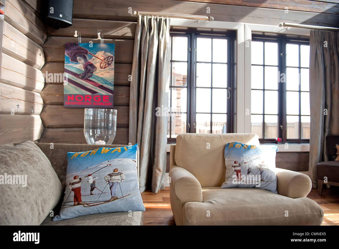 Essen, trinken, Zimmer und herzliche Gastlichkeit direkt an der Skipiste: Hovden Alpine Lodge in Hovden,, Setesdal, Stockbild