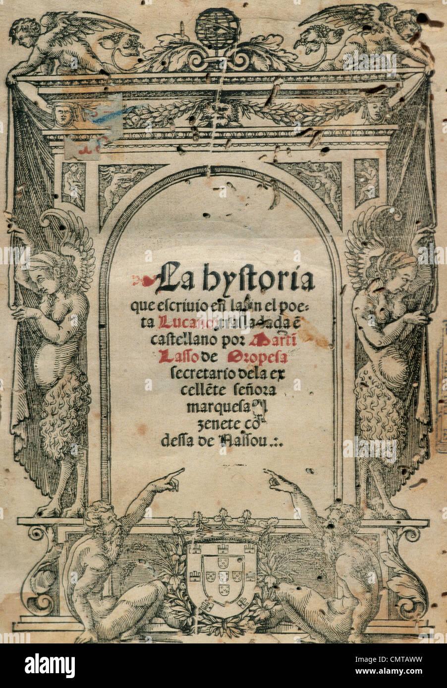 Lucan (39-65). Lateinische Dichter. Pharsalia. Titel-Cover. Lissabon, 1541. Stockbild