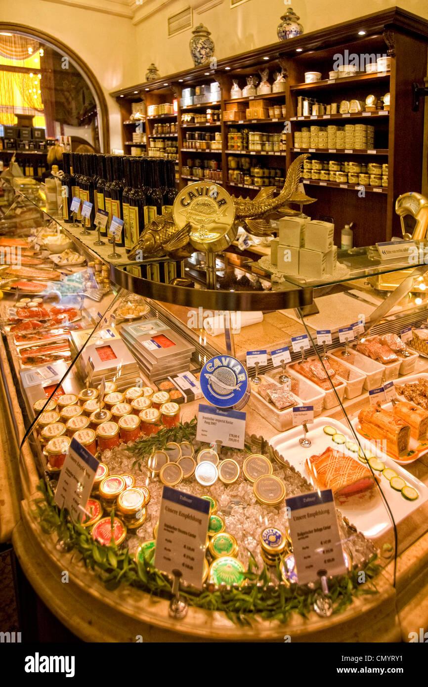 Dahlmeier Feinkost Shop, Kaviar, München, Deutschland Stockfoto