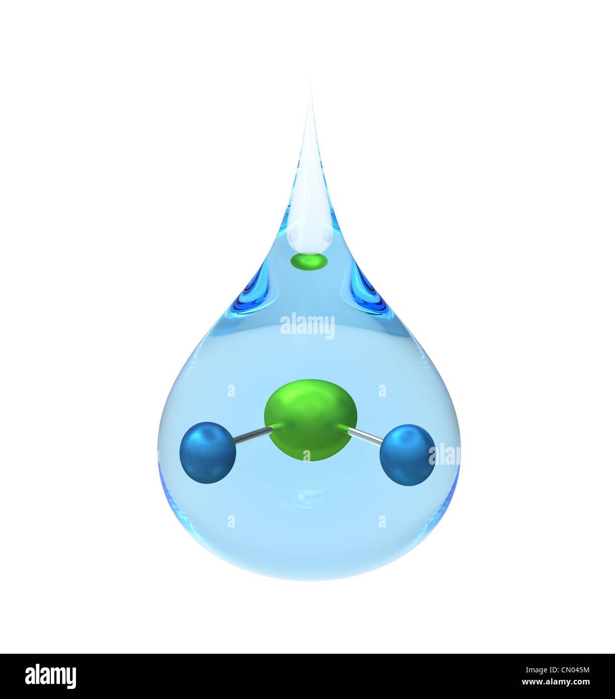 Modell eines H2O-Moleküls in einem Tropfen Wasser, isoliert auf weiss, 3d Rendern Stockbild