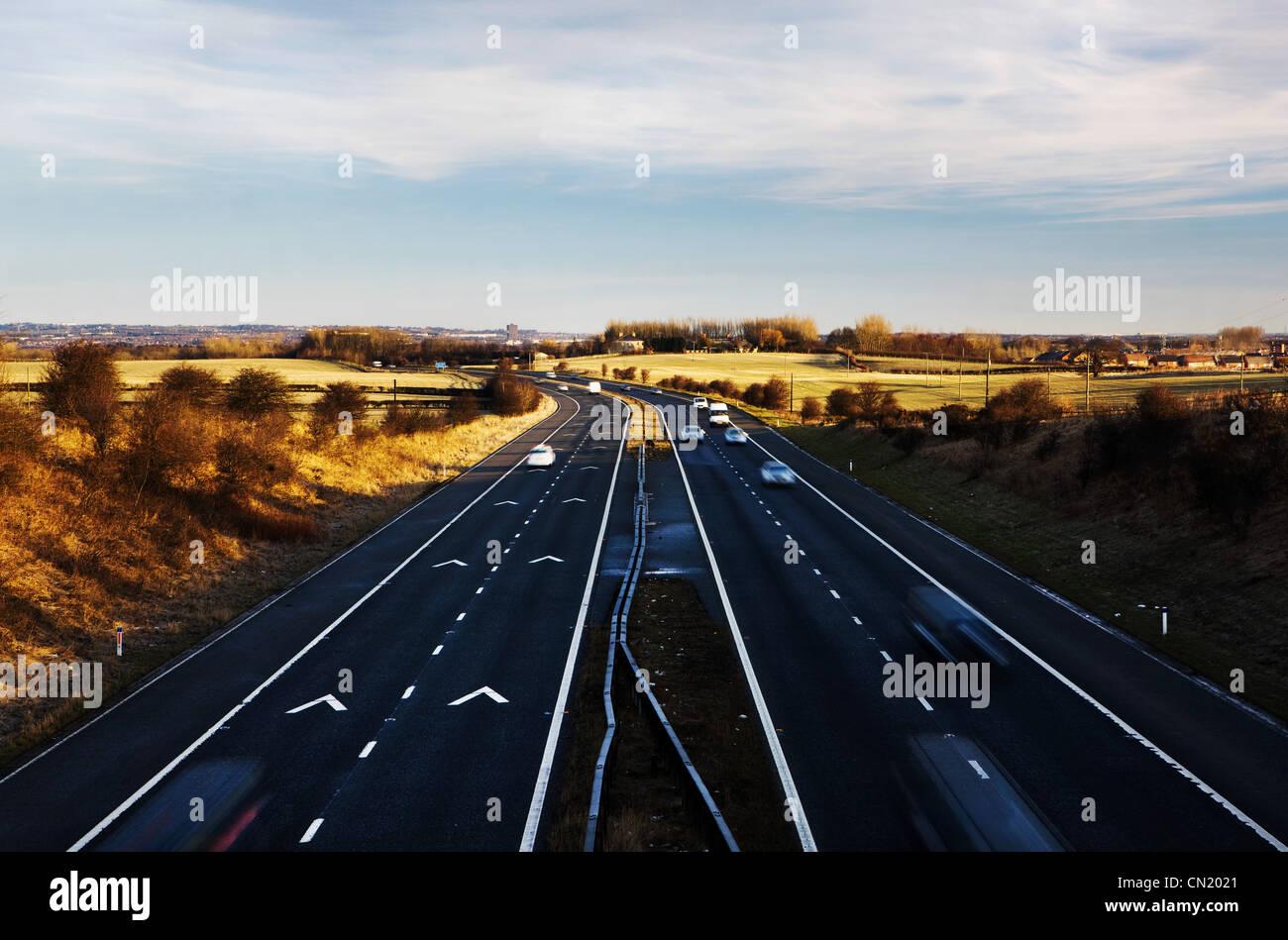 Autos auf der Autobahn, Nordostengland, UK Stockbild