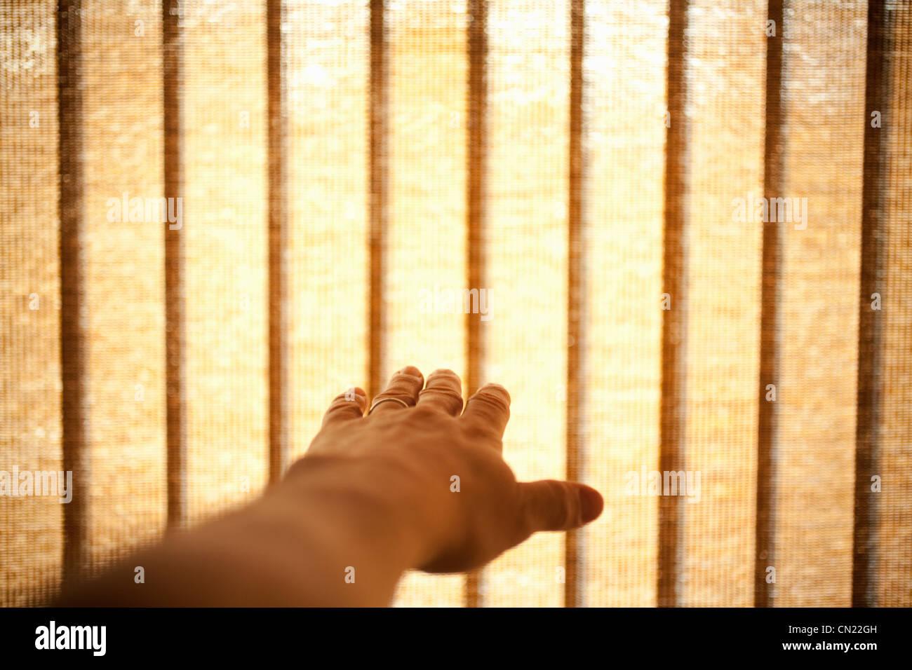 Die Hand und Frau Fenster blind Stockbild
