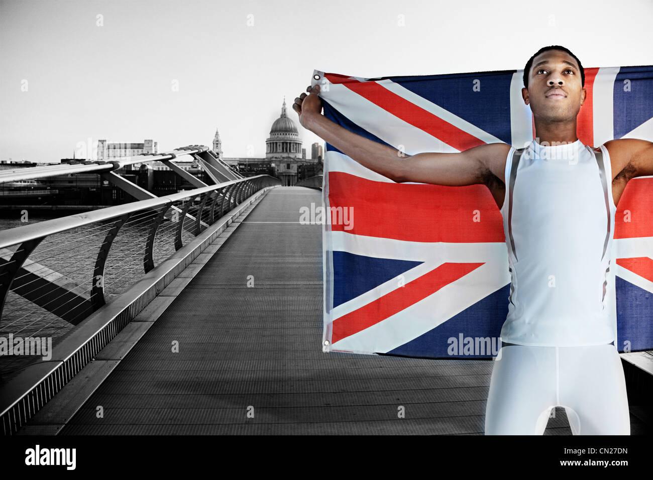 Olympische Konkurrenten auf Millennium Bridge, London, England Stockbild