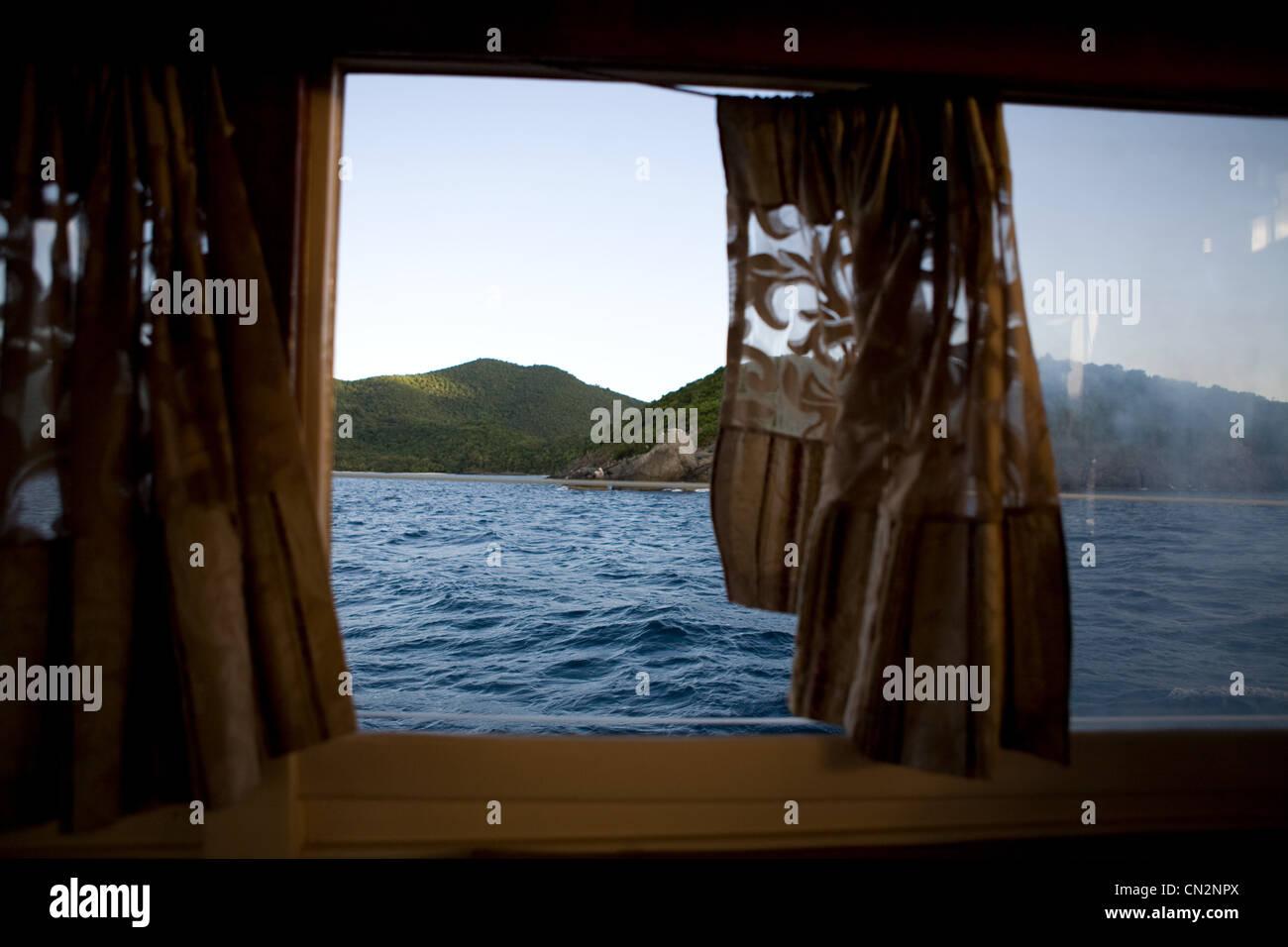 """Blick durchs Fenster """"Boot"""" St. John, US Virgin Islands Stockbild"""