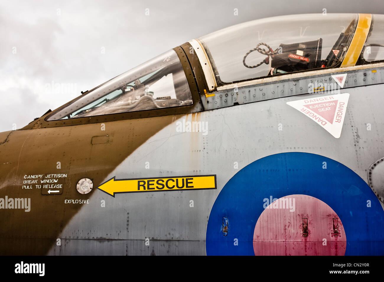 Jet-Flugzeug-Cockpit, Seitenansicht Stockbild