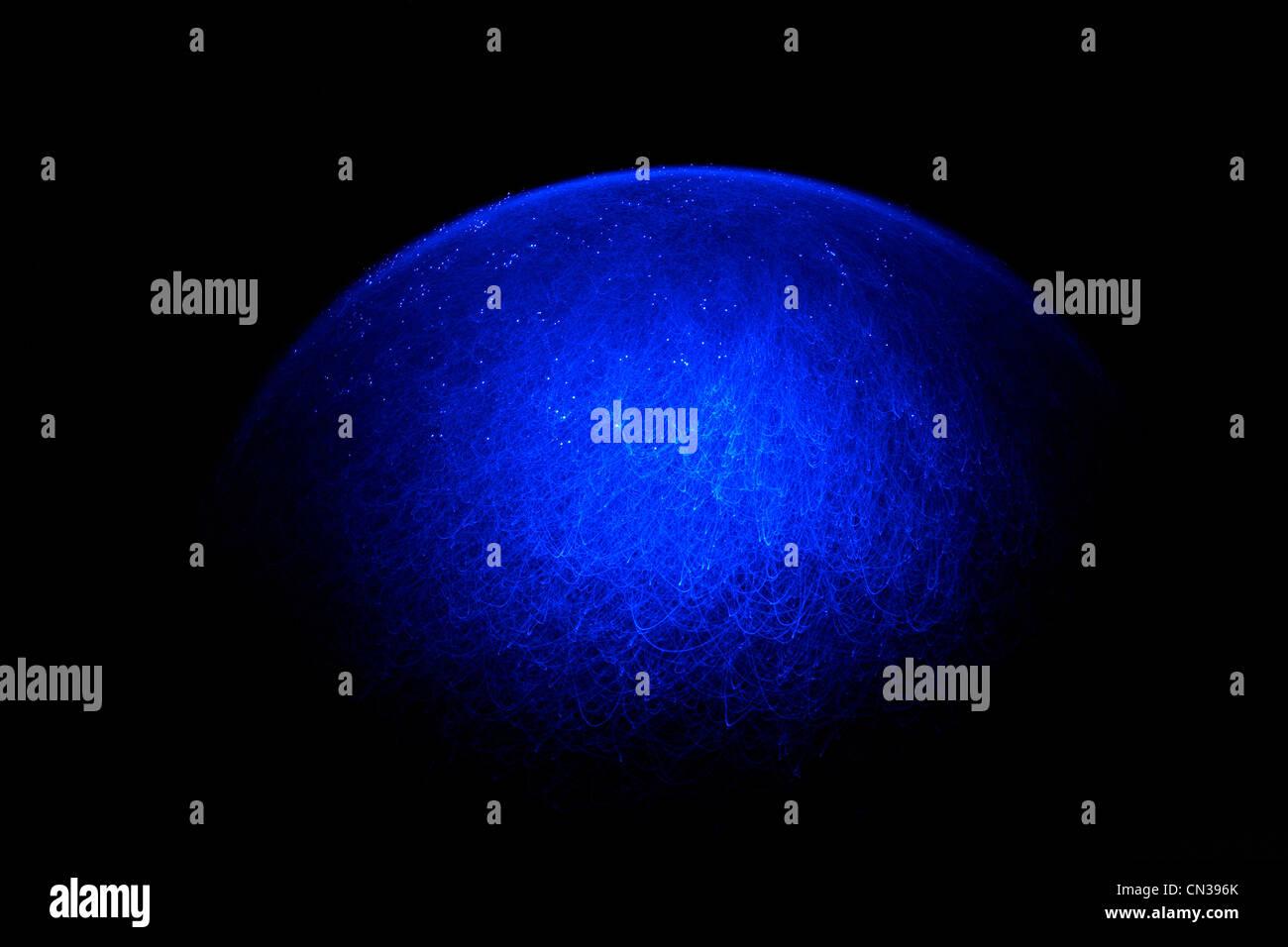 Blaue Faser Optik Lichtmuster Stockbild