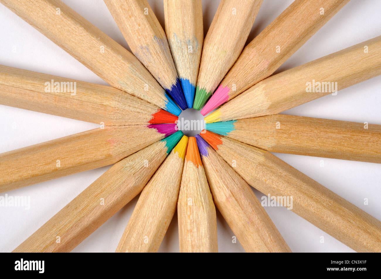 Buntstifte-Makro kann als Hintergrund verwendet werden Stockbild