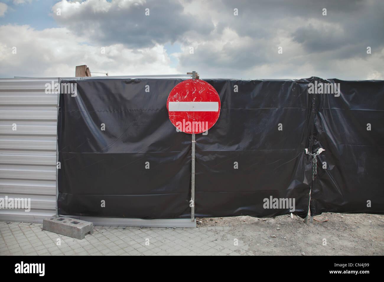 Kein Eintrag Zeichen auf Tor Stockbild