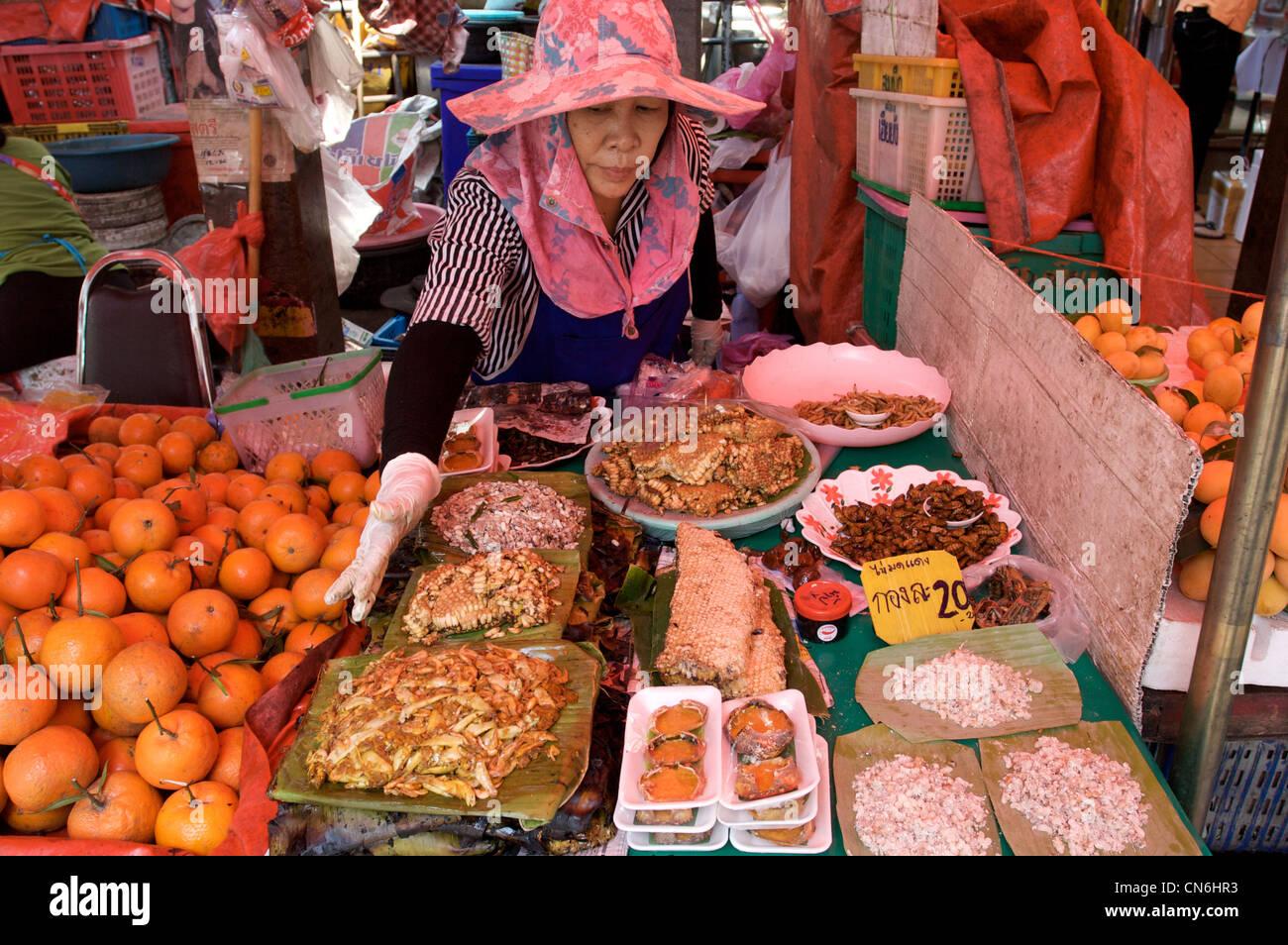 lokalen Lebensmittelgeschäft, Meeresfrüchte, Obst, Waben, Delikatesse, Chiang Mai, Kad-Kuang, Chiang Mai, Stockbild