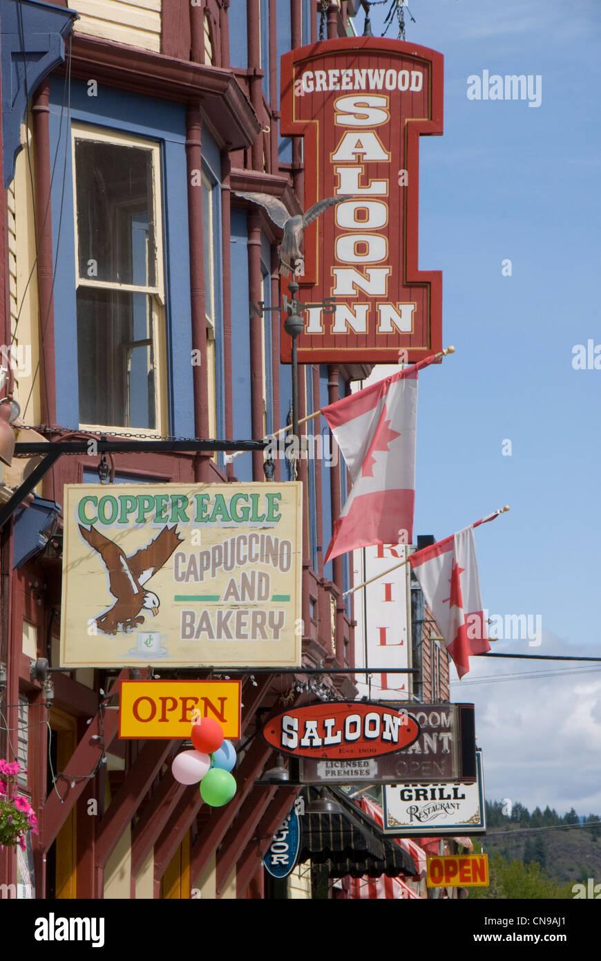 Geschäft Zeichen, Greenwood British Columbia, Kanada Stockbild