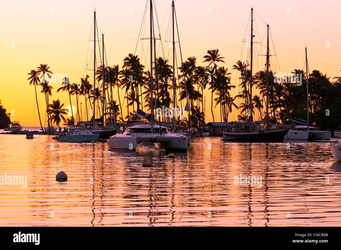 St. Lucia, Marigot Bay bei Sonnenuntergang Stockbild