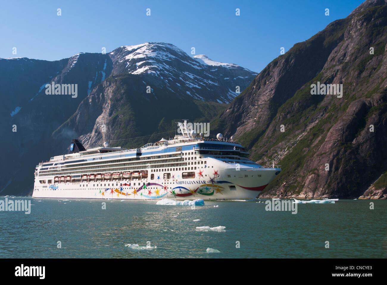 Norwegian Star Ansicht Kreuzfahrtschiff im Tracy Arm mit Eisbergen im Vordergrund, Stephens Passage, südöstlichen Stockbild