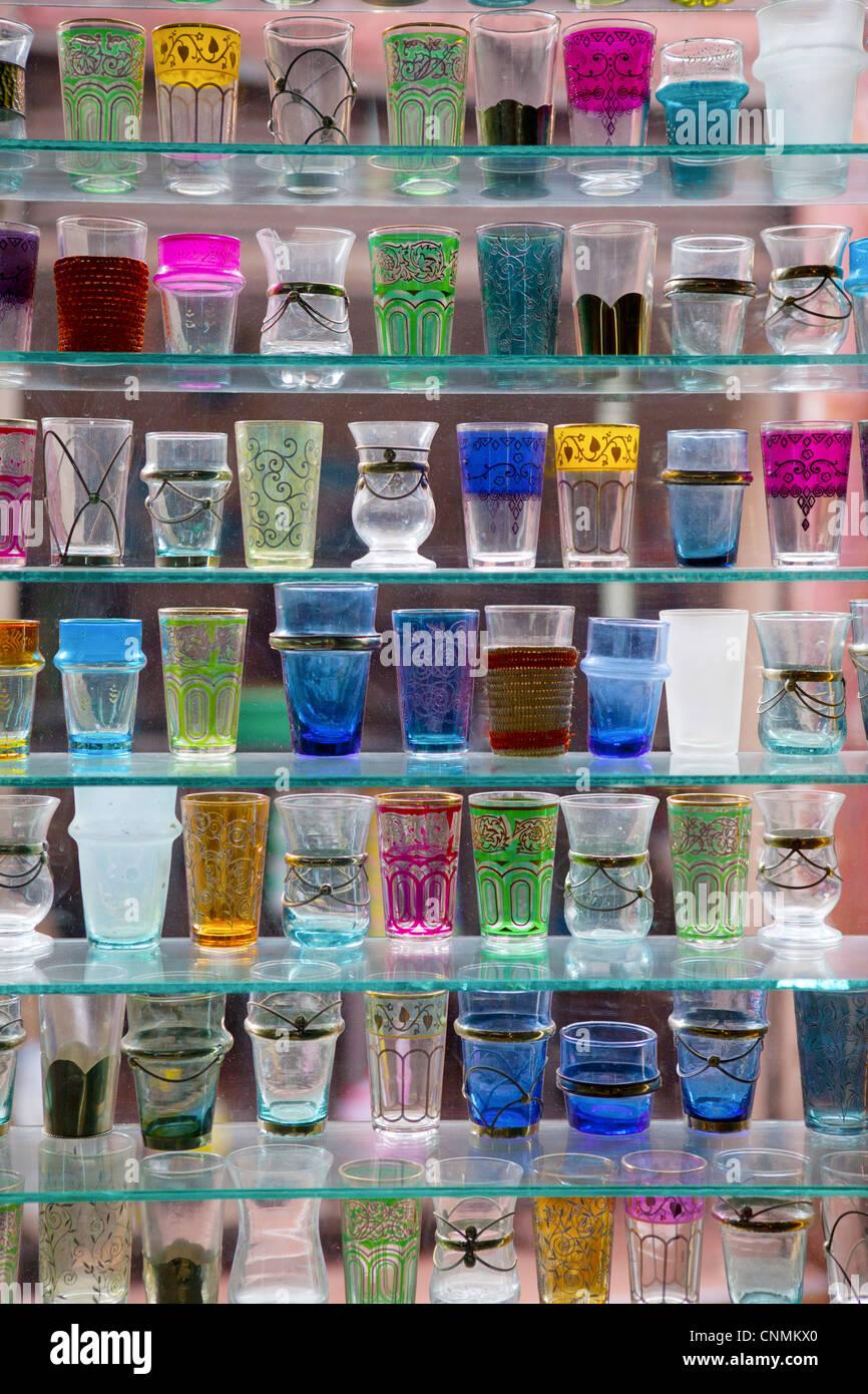 Aufwendige Glas in Marrakesch, Marokko Stockbild