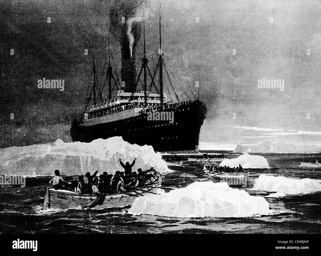 Verkehr / Transport, Navigation, Titanic, Rettung der Überlebenden von der RMS Carpathia, 15.4.1912, Schiff, Stockbild