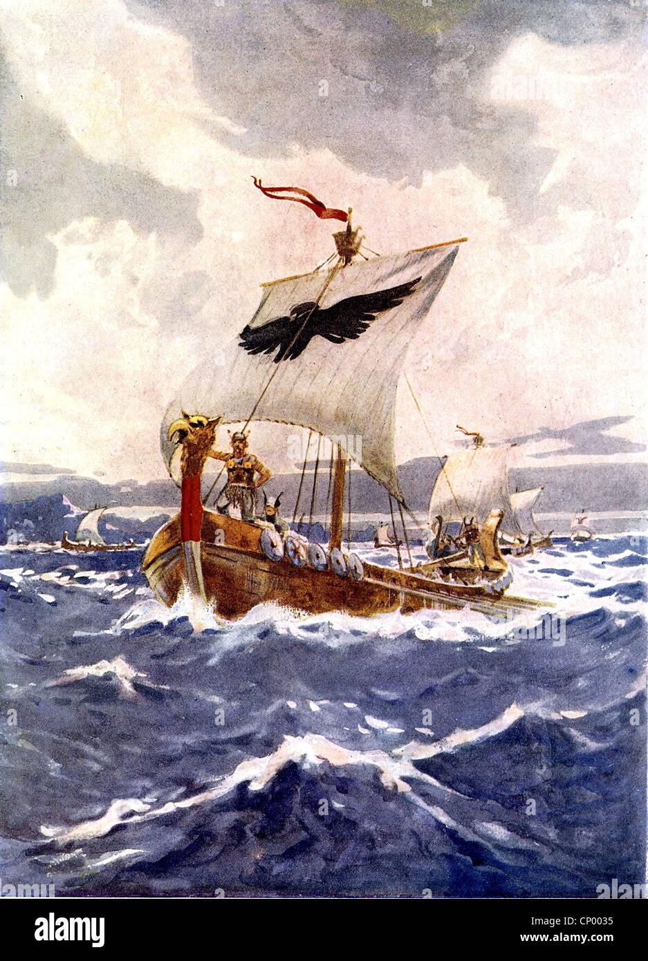 Mittelalter, Wikinger, Wikinger Schiff, Segeln, Gemälde von Arch Webb, historisch, historische, Schiffe, Boot, Meer, Stockfoto