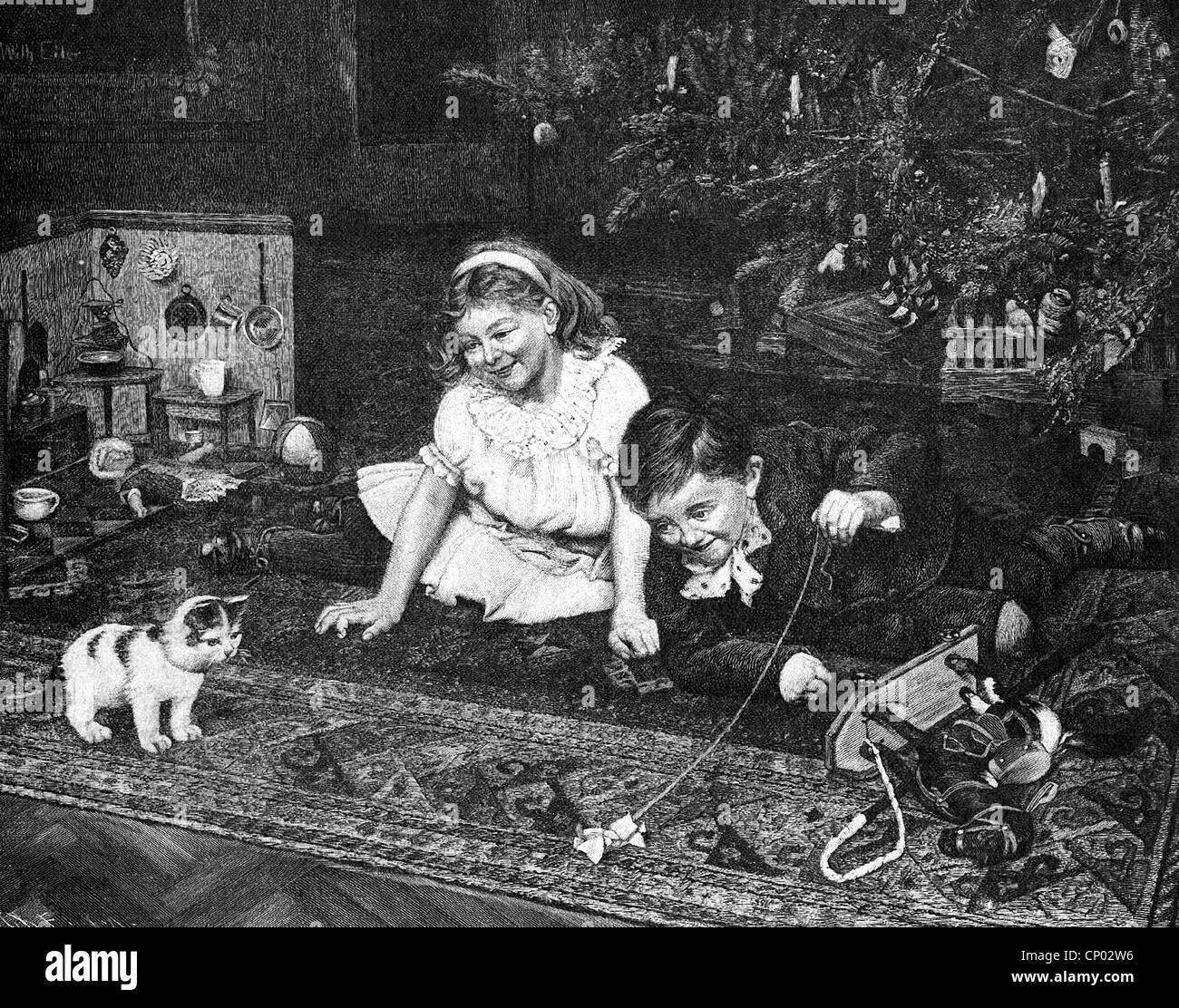 children christmas 19th century stockfotos children. Black Bedroom Furniture Sets. Home Design Ideas