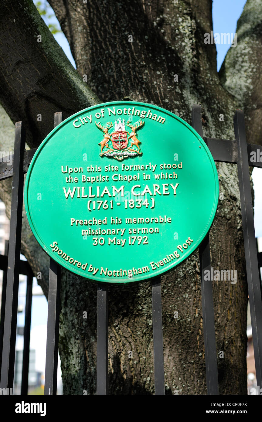 William Carey Baptist Missionar. Nottingham Maid Marion Weise Plaque. Stockbild