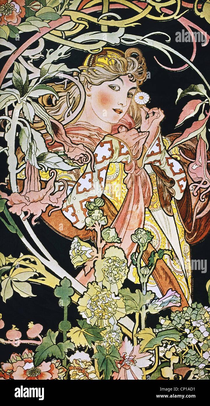 Bildende Kunst, Mucha, Alphonse (1860-1939), Plakat, um 1900, Ornament, Ornamente, Jugendstil, Frau mit Blume, Blumen, Stockfoto