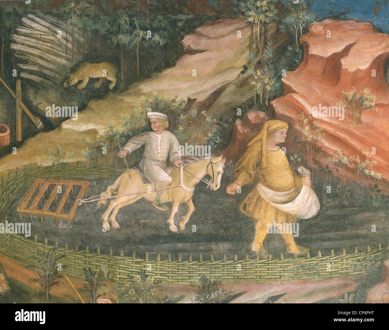 Trento Buonconsiglio Fresko Stockfoto