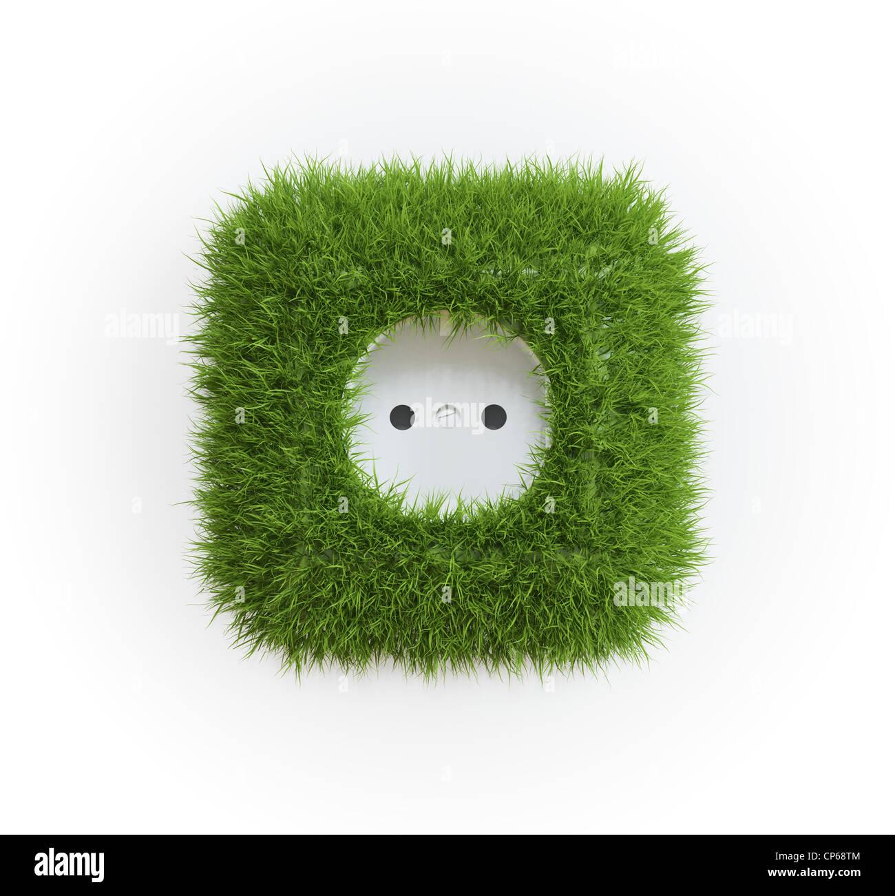 Grass bedeckt Outlet - erneuerbare Energie-Konzept Stockfoto