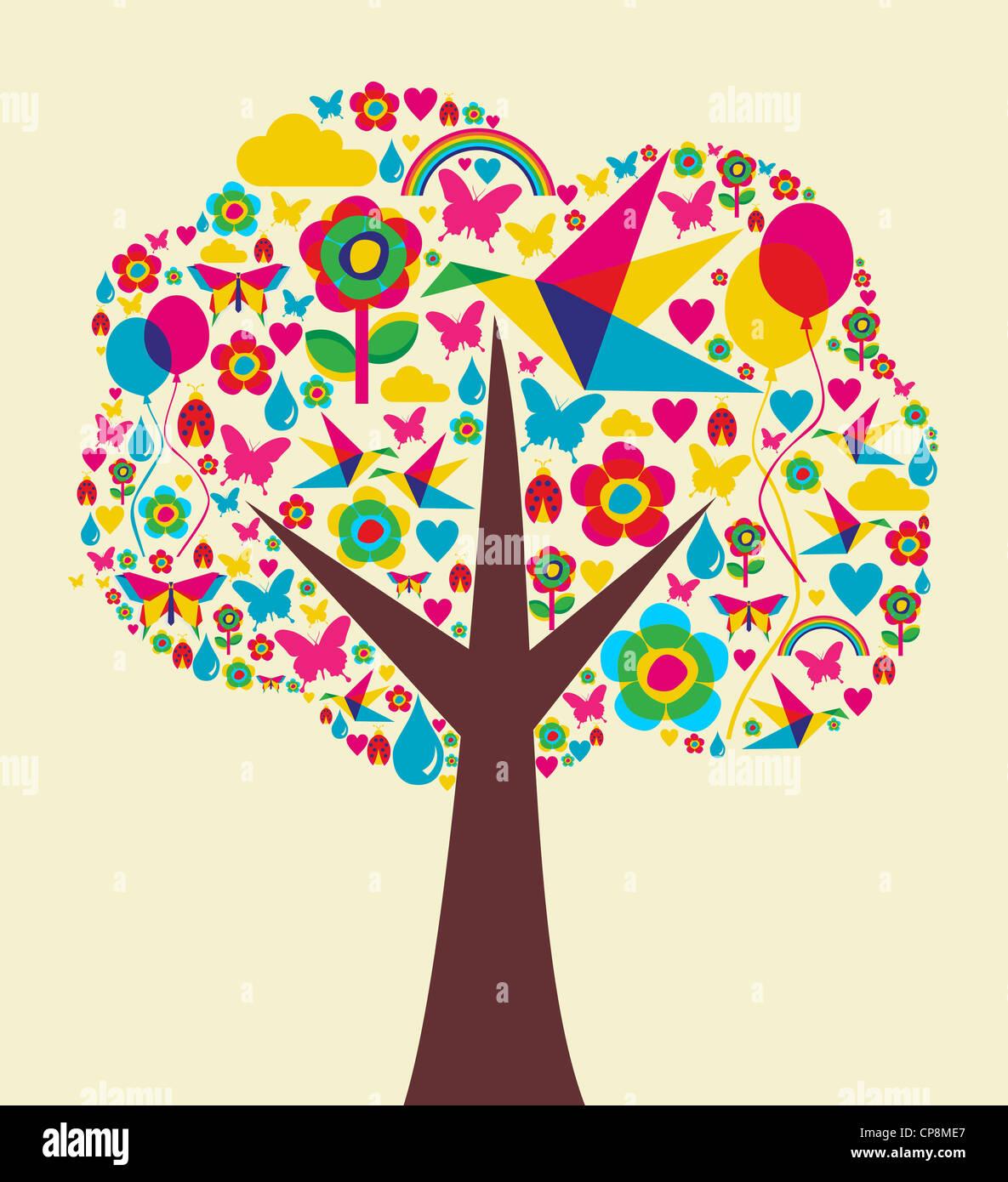Schönen Frühling Zeit Baum Zusammensetzung Hintergrund. Vektor-Datei zur Verfügung. Stockbild