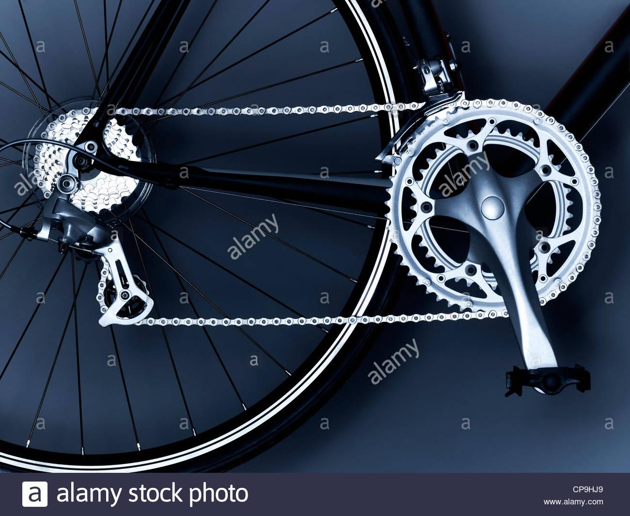 Fahrrad, Fahrradkette, Fahrrad-Ausrüstung, Fahrrad-Rad, schwarz und weiß, Kette, Nahaufnahme, Zahnrad, Stockbild