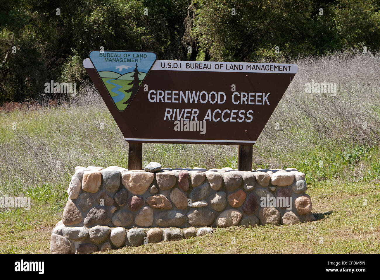 Greenwood Bach Fluss Zugang Zeichen auf der South Fork des American River Stockbild