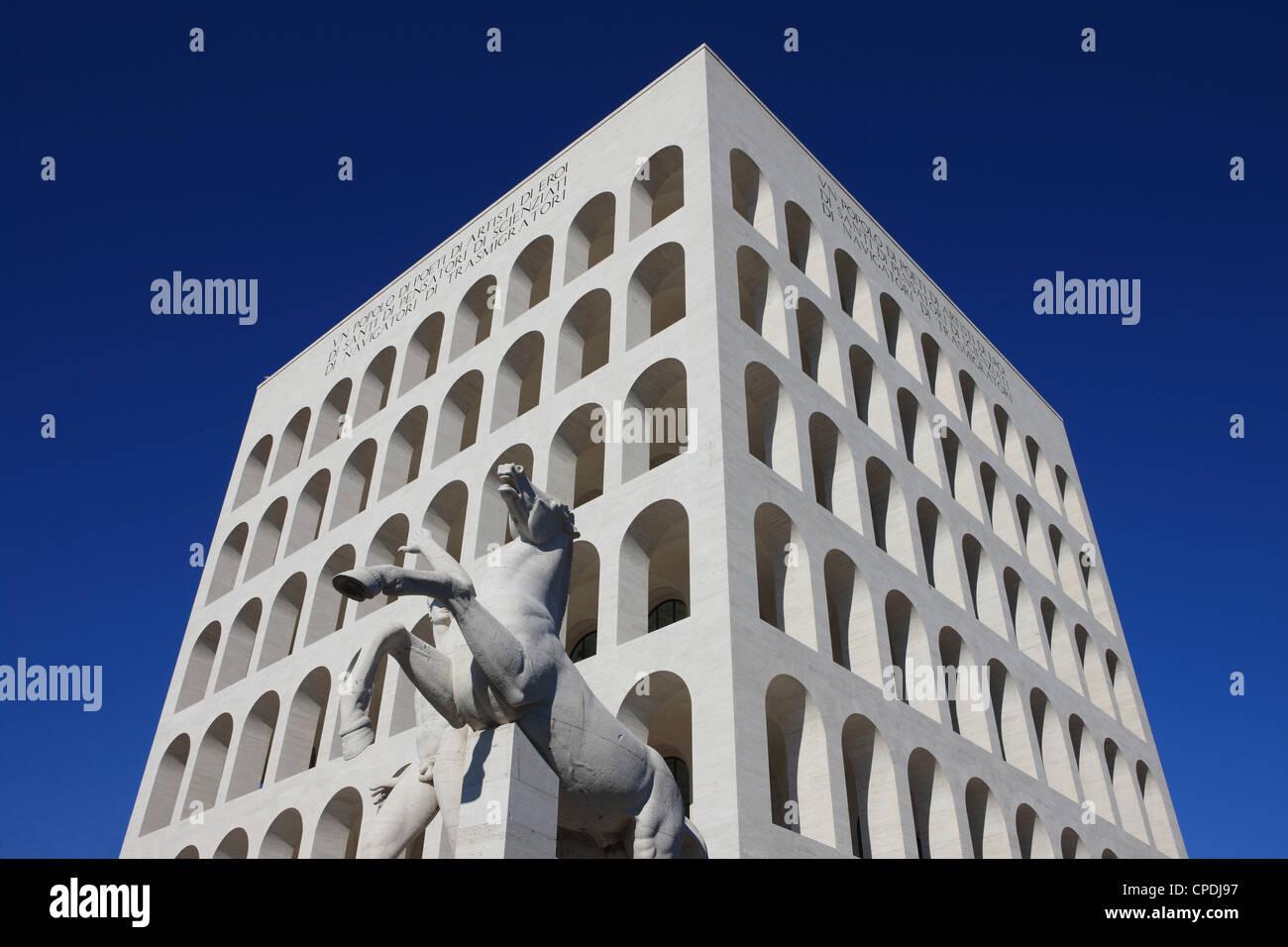 Palazzo della Civilta Italiana, Euro, Rom, Latium, Italien, Europa Stockbild