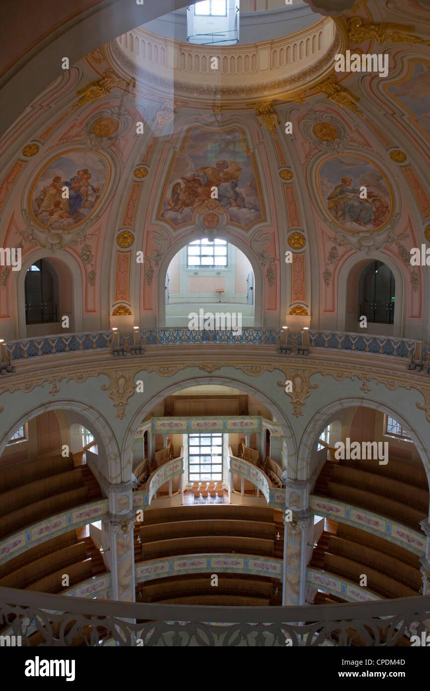 Im Inneren der Frauenkirche, Dresden, Sachsen, Deutschland, Europa Stockbild