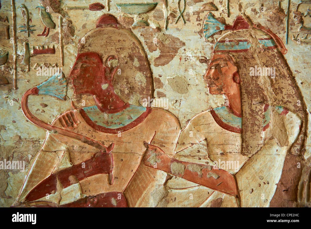 Detail vom Grab, El Kab Tempel, Ägypten, Nordafrika, Afrika Stockbild