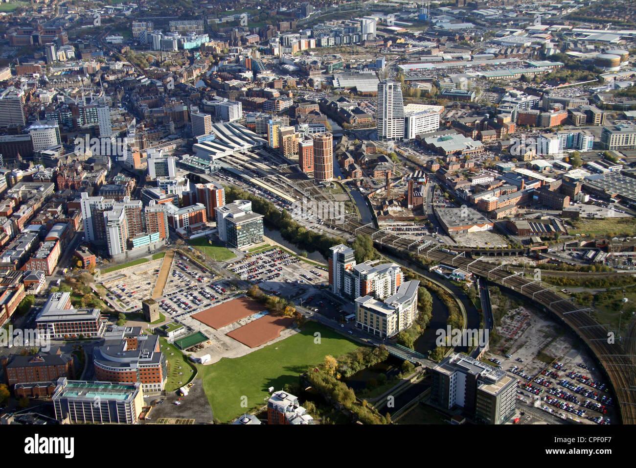 Luftaufnahme von Whitehall Straße, Leeds Stockbild