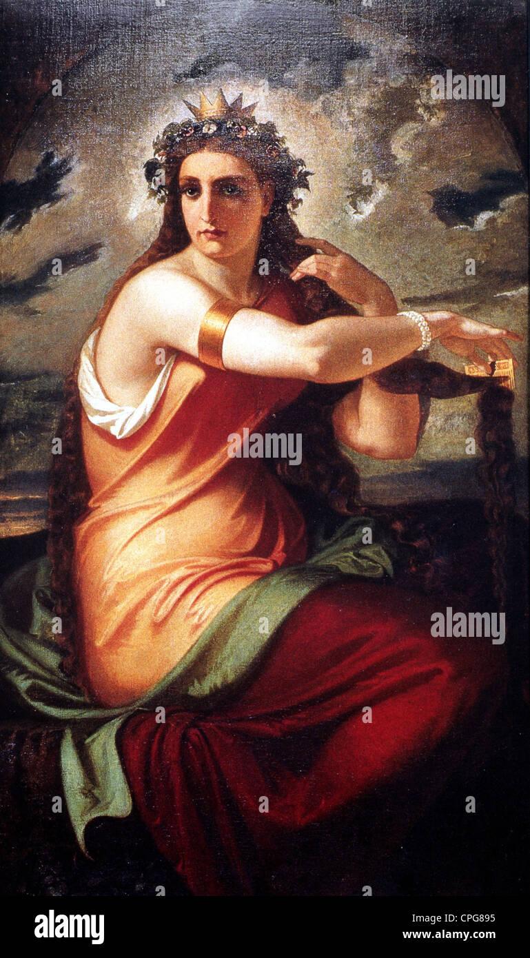 Lorelei, deutsche Sagengestalt, Kämmen ihr Haar, Gemälde von Carl Friedrich Fries, 1857, Kämme, Loreley, Stockbild