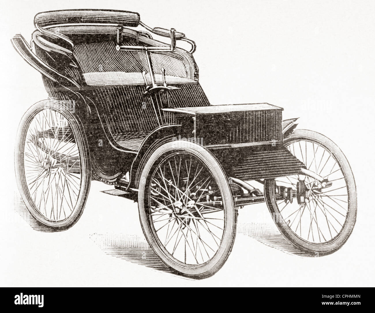 Eine frühe Benzin angetrieben Clément Motorwagen. Stockbild