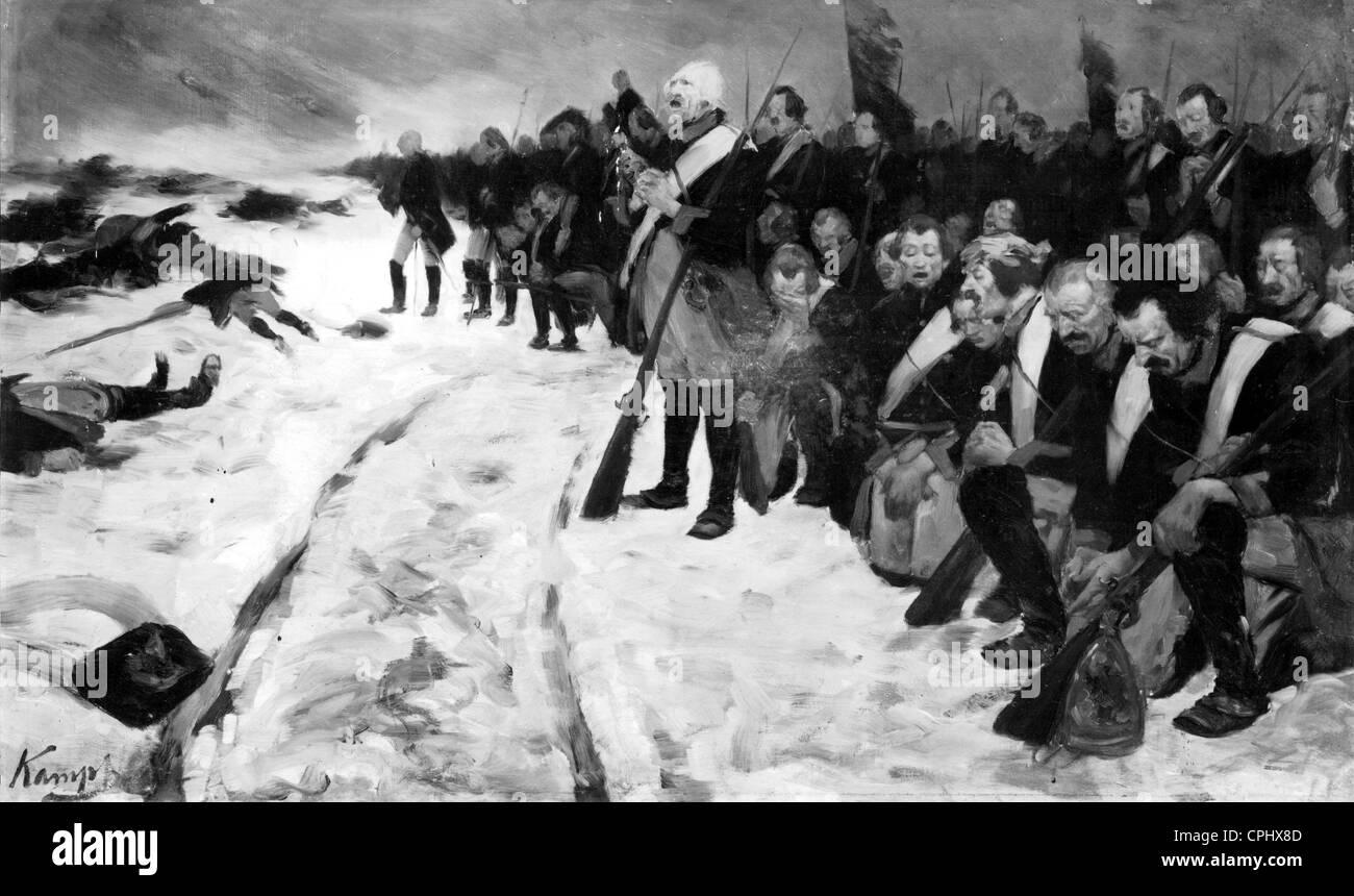 Preußische Soldaten nach der Schlacht von Leuthen Stockbild