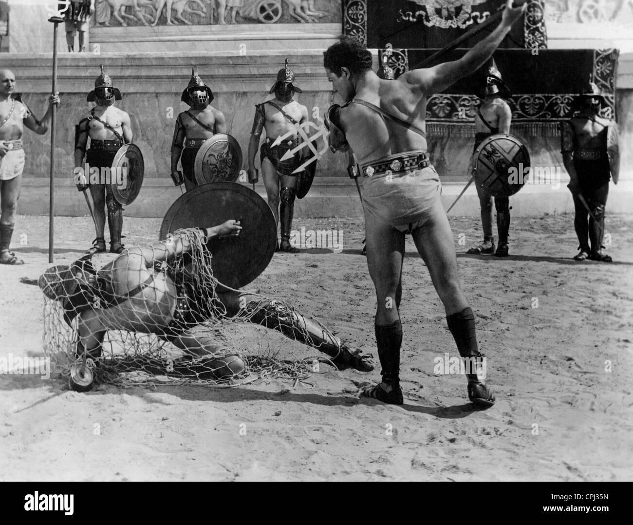 Kampf der Gladiatoren im alten Rom Stockbild