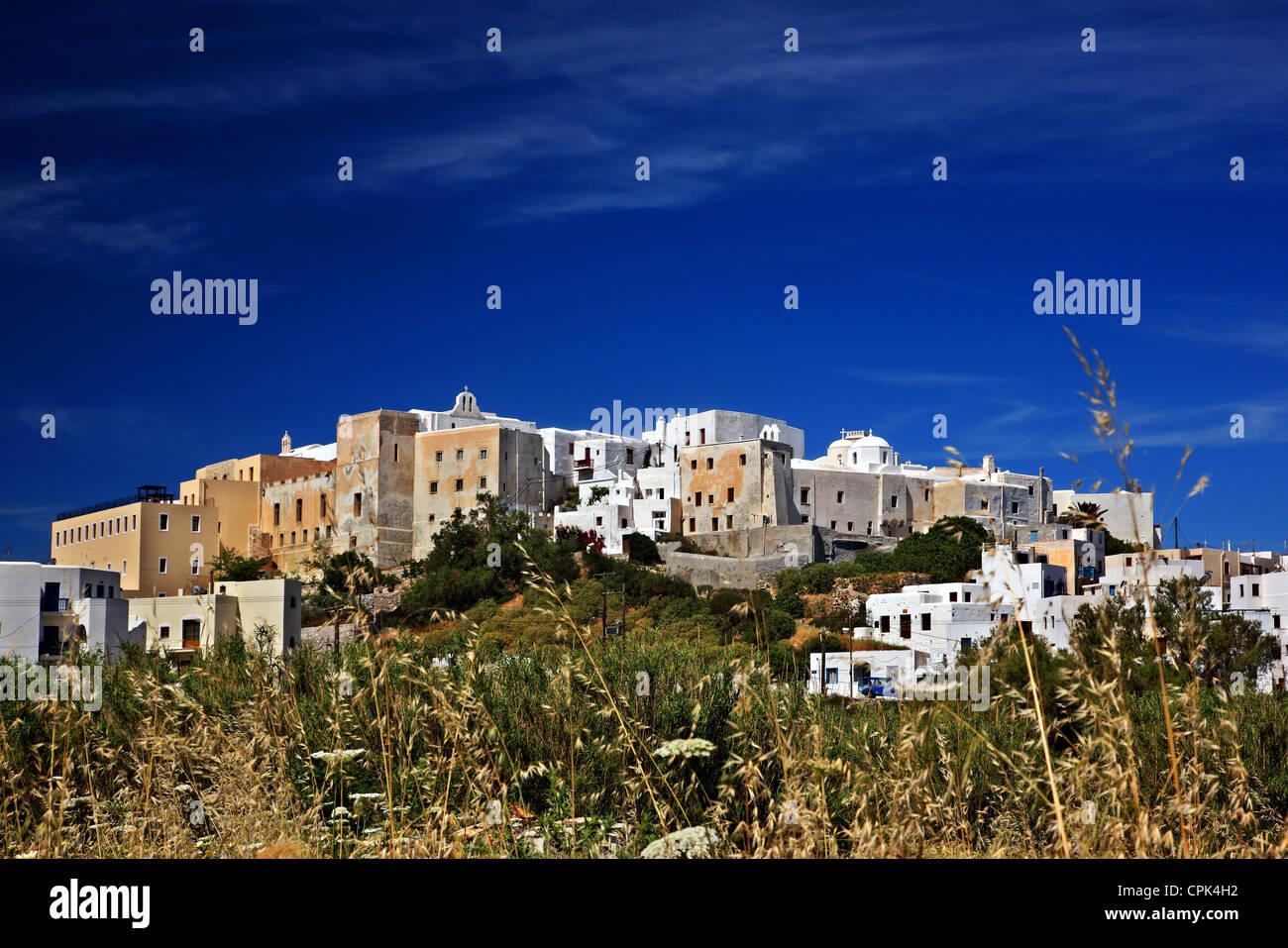 """Die """"Rückseite"""" der Kaste Sanoudos, Chora (""""Hauptstadt"""") von Naxos Insel, Kykladen, Griechenland. Stockbild"""