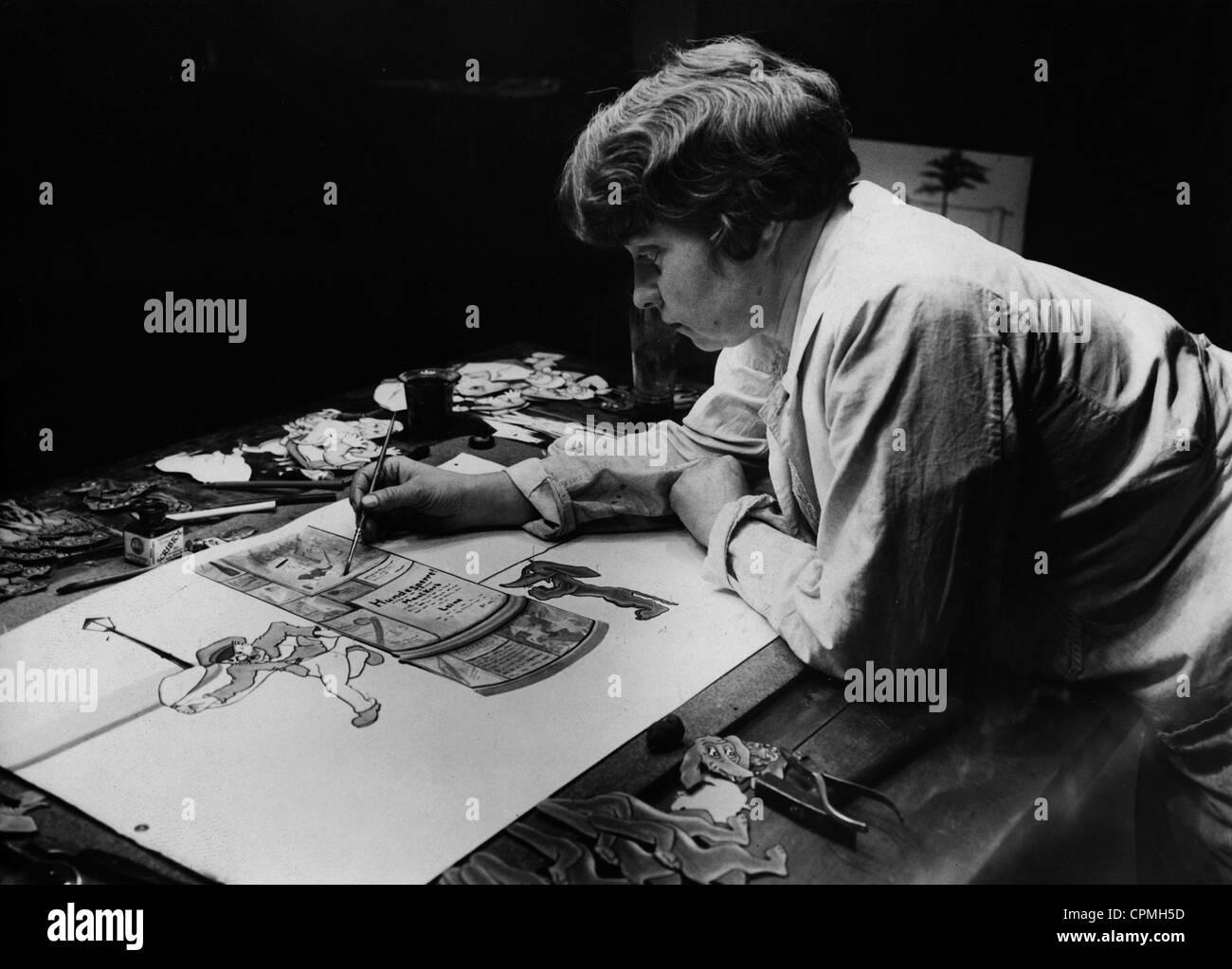 Herstellung von Zeichentrickfilmen, 1929 Stockbild