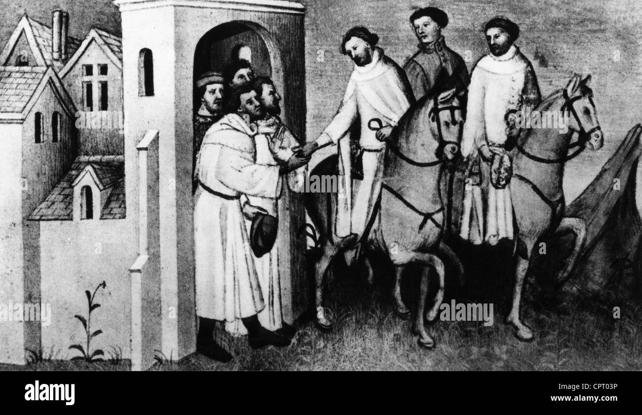 """Polo, Marco, 1254 - 8.1.1324, venezianischer Kaufmann, Reisender, mittelalterliche Porträt aus """"Les Livre Stockbild"""