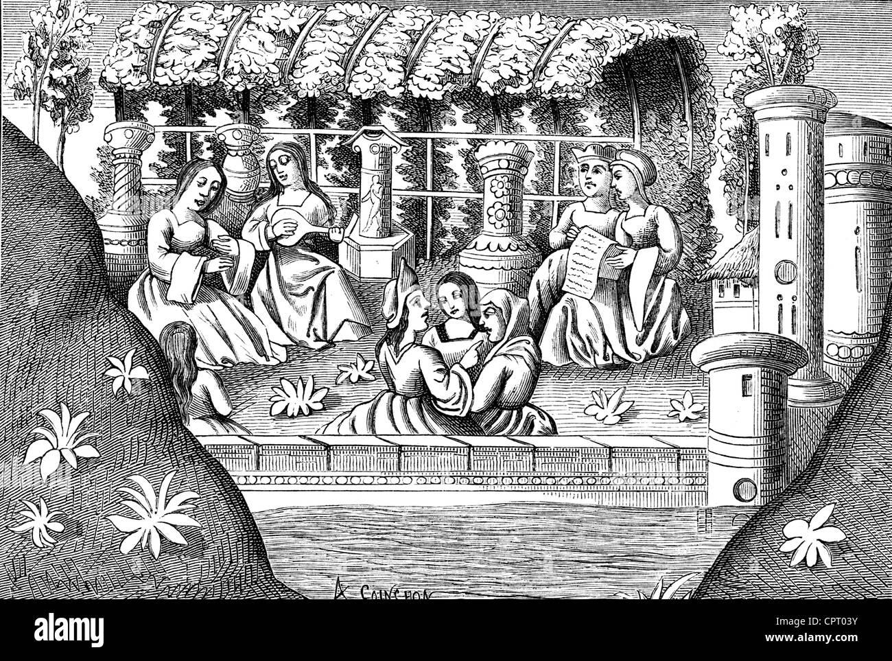 Polo, Marco, ca. 1254 - 8.1.1324, venezianischer Kaufmann, Alamond Burg und ihrer Bewohner, mittelalterliche Miniatur Stockbild