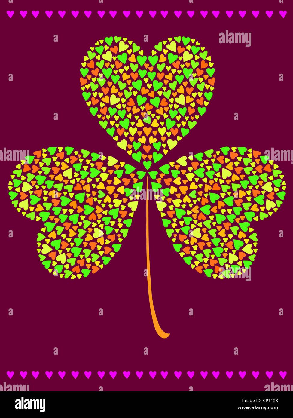 Ein drei Kleeblatt von kleineren Herzen gemacht Stockbild